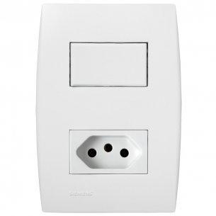 Conjunto Siemens Ilus 4x2 Branco Com Placa(1simples+tomada)  5ta99066