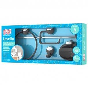 Acessorio Wc Herc Lavello Kit Com 5 Pecas Preto/cromado  4092